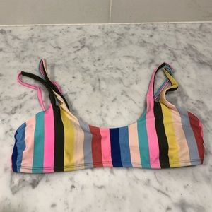 no boundaries multicolor striped bikini top